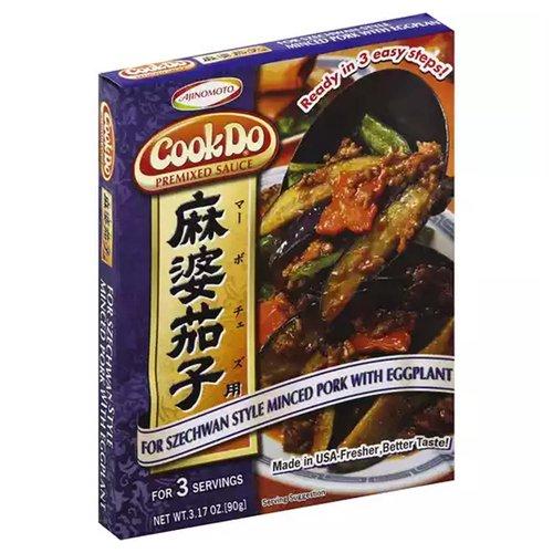 <ul> <li>Ready in 3 easy steps!</li> <li>For Szechwan Style Minced Pork with Eggplant</li> <li>Made in USA-Fresher, Better Taste!</li> <li>Premixed Sauce</li> </ul>