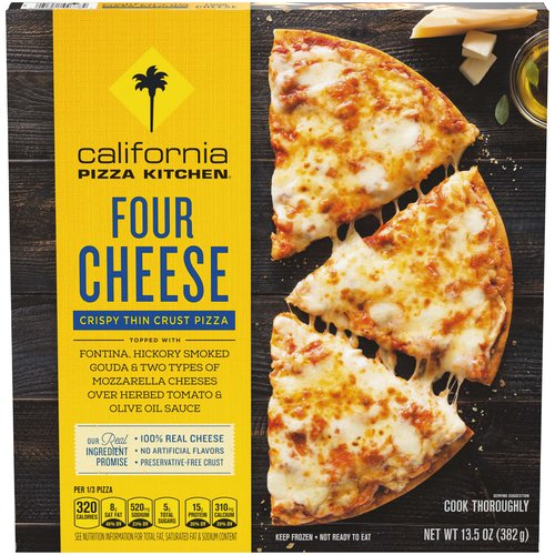 <ul> <li>California Pizza Kitchen Four Cheese Crispy Thin Crust Frozen Pizza with 100% real cheeses—fontina, hickory-smoked Gouda, two types of mozzarella cheese, and no artificial flavors</li> <li>We source premium ingredients and create delicious combinations, so every bite is made to please</li> <li>A frozen pizza that always impresses. It's the quality of CALIFORNIA PIZZA KITCHEN cooked fresh at home</li> <li>Easy to cook. Preheat your oven, remove all packaging, and cook for 15-16 minutes.  Don't forget to recycle the box and clean cardboard circle</li> <li>The CALIFORNIA PIZZA KITCHEN Real Ingredient Promise is our commitment to use real cheese and no artificial flavors, all on a preservative-free crust</li> </ul>