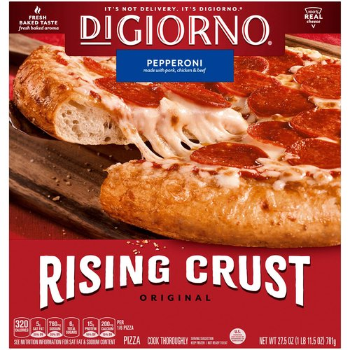 <ul> <li>Fresh Baked Taste, Fresh Baked Aroma</li> <li>Preservative-free crust</li> <li>Real Mozzarella Cheese</li> <li>California vine-ripened tomatoes</li> <li>The DIGIORNO Rising Crust Pepperoni pizza is made with only the very best: California vine-ripened tomatoes, real mozzarella cheese, a preservative-free crust, and is loaded with big, juicy slices of pepperoni. We made pizza history when we put this one on the menu! The DIGIORNO Original Rising Crust bakes up crispy on the outside and soft and tender on the inside. The self-rising crust has big, juicy toppings that are paired with our signature sauce for the fresh-baked taste of delivery pizza in your very own home. It's Not Delivery. It's DIGIORNO.</li> </ul>