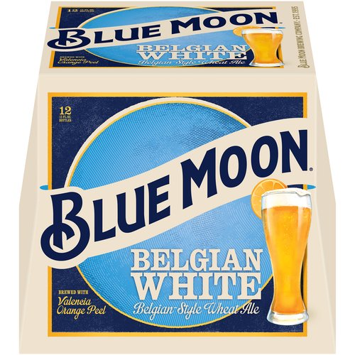 <ul> <li>Blue Moon Belgian White Wheat Beer, Craft Beer, Beer 12 Pack, 12 FL OZ Bottles, 5.4% ABV</li> <li>Twelve pack of 12 fl oz bottles of Blue Moon Belgian White Wheat Beer</li> <li>Belgian style craft beer with a 5.4% ABV</li> <li>Citrus beer with a creamy body and a light spicy wheat aroma</li> <li>An unfiltered wheat ale with a smooth finish</li> <li>Brewed with Valencia orange peel, a touch of coriander, oats and wheat</li> <li>Enjoy during a night with friends and pair with salads, seafood or marinated chicken dishes</li> </ul>