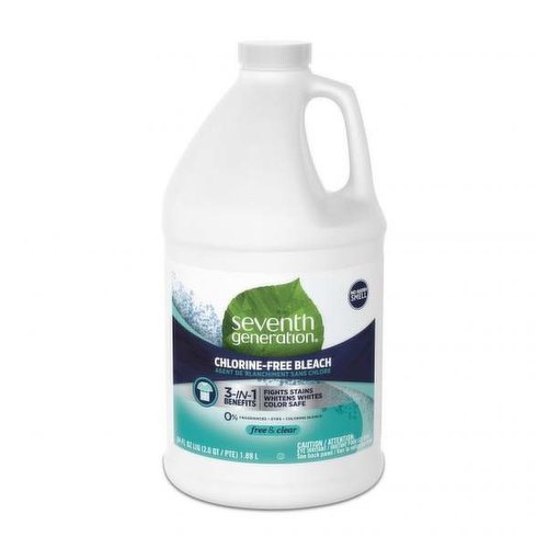 Seventh Generation Non Chlorine Bleach is the Free and Clear answer to whiter whites, and brightens colors you have been looking for.  Our ultra-concentrated formula lifts tough stains from clothing.  This biodegradable formula is free of fragrances, dyes, chlorine bleach, phosphates and artificial brighteners.  Simply add our chlorine-free bleach to your HE or standard washing machine along with Seventh Generation Laundry Detergent for the best stain lifting results.  If every household in the US replaced just one bottle of 64 oz chlorine bleach with non-chlorine bleach, we could prevent 8.2 million pounds of chlorine from entering our environment.  Our formula is septic safe and never tested on animals.  At Seventh Generation we do business differently.  We believe our products are healthy solutions for use within your home–and for the community and environment outside of it.  We are always evaluating how to reduce their environmental impact, increase performance and safety, and create a more sustainable supply chain.  We believe it is our responsibility to set a course for a more mindful way of doing business, where companies act as partners with other stakeholders to create a brighter future for the whole planet.  Seventh Generation is proud to be a Certified B Corporation.  B Corps are certified to be better for workers, better for communities, and better for the environment.  By choosing Seventh Generation laundry soap and laundry stain remover products, you're joining us in nurturing the health of the next seven generations.