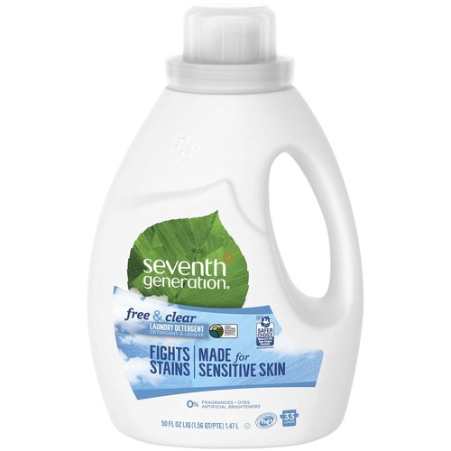 Our Laundry Detergent is tough on stains, but gentle to your world.  With no dyes, artificial brighteners or synthetic fragrances, Seventh Generation Laundry Detergent liquid gives you great results in HE (HE detergent) and standard machines, and works in all water temperatures. This laundry soap, made with plant-based ingredients, is a USDA Certified Biobased 97%. Our fragrance free laundry detergent is made for sensitive skin and will leave your clothes fresh and clean without harsh chemicals. For more than 25 years, Seventh Generation has been thoughtfully formulating safe and effective plant-based products that work. Really well. As a leading green laundry detergent manufacturer, we are proud to make biodegradable and EPA Safer Choice Certified detergents. You may also notice a cute Leaping Bunny seal on our products. That means we never test our products on animals and our products do not contain animal-based ingredients. We design our products to be safe for people, their homes, and the environment. Based in Vermont, Seventh Generation is proud to be a Certified B Corporation. B Corps are certified to be better for workers, better for communities, and better for the environment. By choosing Seventh Generation products, you're joining us in nurturing the health of the next seven generations. HE Laundry Detergent