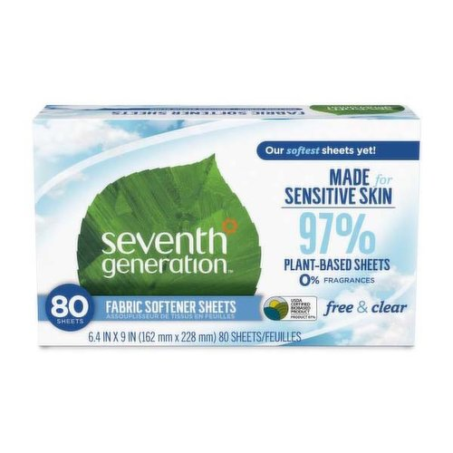 7th Generation Fabric Softener Sheets, Free & Clear, 80 Each