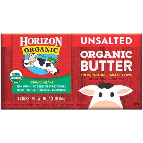 <ul> <li>Unsalted butter</li> <li>4 sticks per box</li> <li>Certified USDA Organic</li> <li>Non-GMO</li> <li>Made with sweet organic cream</li> </ul>
