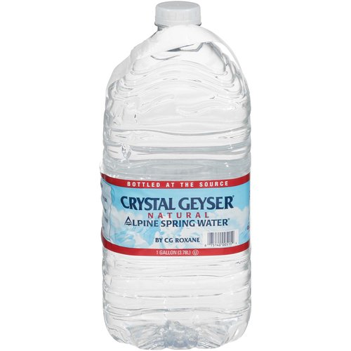 <ul> <li>Crystal Geyser Alpine Spring Natural Water</li> <li>Bottled at the source</li> <li>The proof is on the label. There is a difference and we prove it on every label. Each Crystal Geyser Alpine Spring Water label shows the location of our natural, protected, spring water source. Check it out. Be informed. Enjoy Crystal Geyser.</li> </ul>