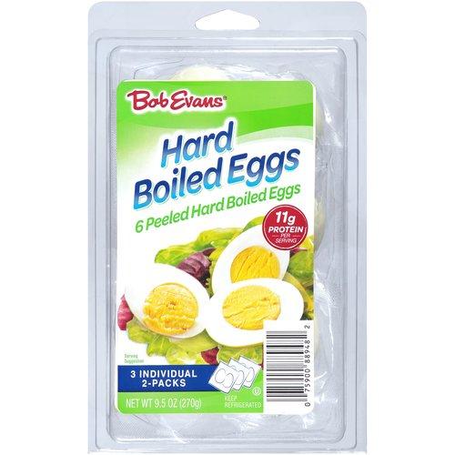 <ul> <li>6 Peeled Hard Boiled Eggs</li> <li>3 Individual 2-Packs</li> </ul>