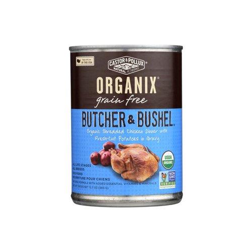 <ul> <li>USDA Organic</li> <li>Non GMO Verified</li> <li>Organic Shredded chicken dinner with fresh-cut potatoes in gravy</li> </ul>