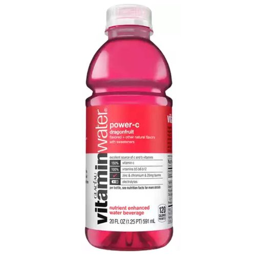 <ul> <li>The delicious taste of natural dragonfruit flavored water?</li> <li>Great source of vitamins b5, vitamin b6, and vitamin b12??</li> <li>one 20 fl oz bottle vitaminwater power-c</li> <li>vitamin-enhanced water with electrolytes to help you hydrate like a human who's 60% water and needs vitamins?</li> <li>each bottled water is packed with 150% daily recommended antioxidant vitamin c</li> ?? </ul>