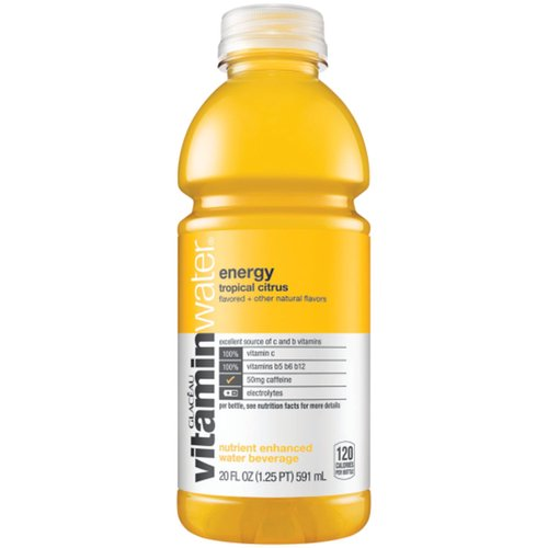 <ul> <li>Vitamin-enhanced water with electrolytes to help you hydrate like a human who's 60% water and needs vitamins?</li> <li>A great source of vitamin b5, vitamin b6, and vitamin b14</li> <li>One 20 fl oz bottle vitaminwater energy</li> <li>Each bottle is packed with 100% daily recommended antioxidant vitamin c</li> <li>The delicious taste of tropical citrus flavor with other natural flavors?</li> <li>Nutrient enhanced water beverage with 100 calories per bottle</li> </ul>