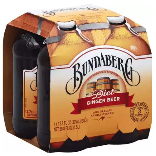 Non-alcoholic beverage. Australian family owned. Over 3 days craft brewed. www.bundaberg.com. Please recycle. Bottled By: Encirc Beverages Ash Road Elton, Cheshire, CH2 4LF, United Kingdom. Made in Australia.