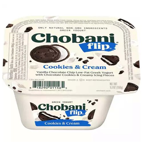 <ul> <li>Only Natural, Non GMO Ingredients</li> <li>Vanilla Chocolate Chip Low-Fat Greek Yogurt with Chocolate Cookies & Cream Icing Pieces</li> </ul>