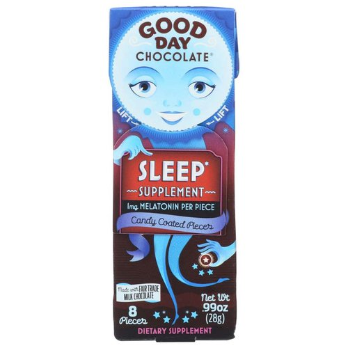 Dietary Supplement. 1 mg melatonin per piece. Made with premium milk chocolate. A nighttime supplement with 1 mg melatonin per piece to encourage sleep, try just 1, max 4 pieces. Say Goodnight to Zora: Zora tends to talk in her sleep. We'll get in trouble if we repeat what she says! 1/4. Meet everyone at GoodDayChocolate.com. Good day, good conscience. Please recycle. (These statements have not been evaluated by the FDA. This product is not intended to diagnose, treat, cure, or prevent any disease.) Mixed with love in the USA for Good Day Chocolate.