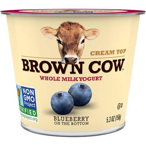 <ul> <li>Brown Cow Cream Top Whole Milk Yogurt, Blueberry on the Bottom</li> <li>The Original Cream Top Yogurt- it's rich, creamy, and delicious!</li> <li>Whole Milk Yogurt</li> <li>NON-GMO Project Verified</li> <li>Kosher Certified</li> <li>Gluten Free</li> <li>Each bite creates a simple moment just for you.</li> </ul>