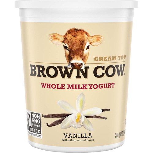 <ul> <<li>Brown Cow Cream Top Vanilla Whole Milk Yogurt</li> <li>The Original Cream Top Yogurt -it's rich, creamy, and delicious!</li> <li>Whole Milk Yogurt</li> <li>NON-GMO Project Verified</li> <li>Kosher Certified</li> <li>Gluten Free</li> <li>Each bite creates a simple moment just for you</li> </ul>