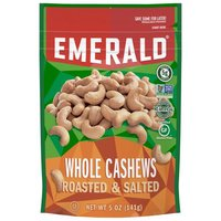 Emerald Whole Cashews - Roasted and Salted, 5 Ounce