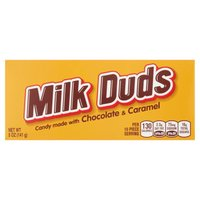 Sink your sweet tooth into Milk Duds Candy, a delicious blend of smooth milk chocolate and chewy caramel. These bite-sized candies are perfect for popping whether you're at home or on the go.