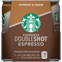4 pack. 6.5 fl oz each can. Starbucks Doubleshot espresso drink is made with the rich, full-bodied espresso you love, and it's always ready to grab and go when you need the inspiration that great coffee provides.