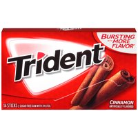 Get close-up confidence with Trident Sugar Free gum, the easy way to freshen breath and help protect against tooth decay. Pop a piece of mouthwatering Cinnamon for a refreshing taste.