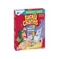 Magically delicious Lucky Charms cereal features frosted oats and colored marshmallows. Made with whole grain.