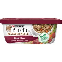 Give your dog high-quality protein and real veggies you can see with Purina Beneful Prepared Meals Beef Stew wet dog food, made without artificial colors, flavors or preservatives.