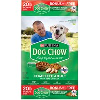 Reach for a bag of Purina Dog Chow Complete Adult With Real Chicken adult dry dog food to give your canine companion the vitamins and minerals he needs to live a long, healthy life with you.