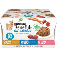 Give your dog's taste buds a workout with this Purina Beneful IncrediBites adult wet dog food variety pack. Beef, chicken and salmon options provide the tastes your dog loves and nutrition he needs.