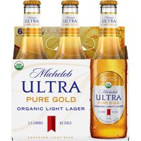 Michelob Ultra Pure Gold Organic Light Lager - 6 Pack Bottles, 72 Fluid ounce
