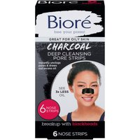 Biore Deep Cleansing Charcoal Pore Strips, 6 Each