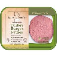 Farm to Family Farm to Family Farm to Family All Natural Turkey Burger Patties, 16 Ounce