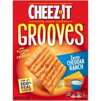 Kellogg's Cheez It Grooves Zesty Cheddar Ranch Crispy Cracker Chips, 9 Ounce