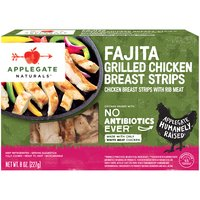 Warning: May cause a fiesta in your mouth.  • Applegate, Natural Fajita Style Grilled Chicken Breast Strips, 8oz  • No Antibiotics or Added Hormones  • No Chemical Nitrites or Nitrates  • No Artificial or GMO Ingredients  • Humanely Raised  • Gluten Free  • Dairy Free  • Casein Free