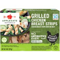 Skip the grilling and cleaning, we've done the hard part for you.  • Applegate, Natural Grilled Chicken Breast Strip, 8oz  • No Antibiotics or Added Hormones  • No Chemical Nitrites or Nitrates  • No Artificial or GMO Ingredients  • Humanely Raised  • Whole30 Approved   • Gluten Free  • Sugar Free  • Dairy Free  • Casein Free