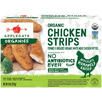 Lightly seasoned with salt and pepper, and coated with organic bread crumbs to bake up crispy and delicious.                                                                                                 • Applegate, Organic Chicken Strips, 8oz (Frozen)  • No Antibiotics or Added Hormones  • No Chemical Nitrites or Nitrates  • Non-GMO Project Verified  • Humanely Raised  • USDA Organic   • Dairy Free  • Casein Free