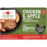 In just one bite, they'll become the apple of your eye.  • Applegate, Natural Chicken & Apple Breakfast Sausage Patties, 7oz (Frozen)  • No Antibiotics or Added Hormones  • No Chemical Nitrites or Nitrates  • No Artificial or GMO Ingredients  • Humanely Raised  • Certified Gluten Free  • Dairy Free  • Casein Free