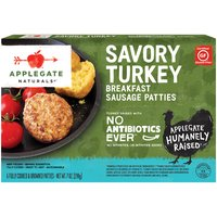 Seasoned with cayenne pepper, aromatic sage and spices to add a little kick to your morning routine.                                                                                                                                                                                      • Applegate, Natural Savory Turkey Breakfast Sausage Patties, 7oz (Frozen)  • No Antibiotics or Added Hormones  • No Chemical Nitrites or Nitrates  • No Artificial or GMO Ingredients  • Humanely Raised  • Certified Gluten Free  • Dairy Free  • Casein Free