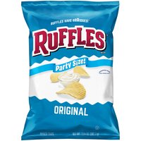 The ridges of Ruffles Potato Chips help hold more great potato chip flavors and stand up to the thickest dips. Ruffles Original Potato Chips are gluten free and contain just potatoes, oil, and salt.