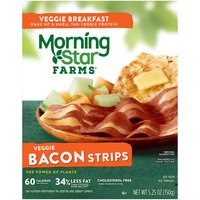 36% less fat than cooked pork bacon. 60 calories. 4.5 g fat. CONTAINS SOY, WHEAT, EGG AND MILK INGREDIENTS.