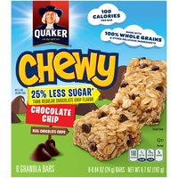 Quaker Chewy Chocolate Chip 25% Less Sugar Granola Bars, 6.7 Ounce