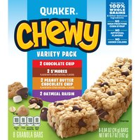 Chocolate Chip, Oatmeal Raisin, Peanut Butter Chocolate Chip and S'mores varieties. No high fructose corn syrup. 8 g whole grain per serving. 8 count package