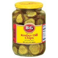 B&G B&G Kosher Dill Chips Pickles with Whole Spices, 32 Ounce