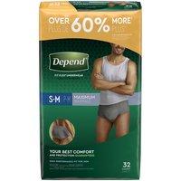 Depend Underwear for Men Small/Medium, 32 Each