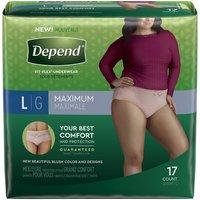 Depend Women's Maximum Absorbency Underwear -  Large, 17 Each