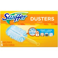 Starter kit. Swiffer 180 Dusters Trap + Lock dust & allergens common inanimate allergens from cat and dog dander & dust mite matter. Specially coated fibers grab onto dust & don't let go.