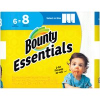 Bounty Bounty Essentials Select-A-Size Paper Towels - White, 6 Each