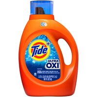 59 Loads. Tide Power + Ultra Oxi. 6x cleaning power vs. leading OXI detergent (stain removal of 1 dose of Tide Ultra OXI liquid vs. 6 doses of leading OXI liquid detergent, in standard machines).