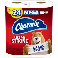 Pack contains 6 Rolls (286 sheets per roll) of Charmin Ultra Strong Toilet Paper. 1 Charmin Mega Roll  equals  4 Regular Rolls based on number of sheets in Charmin Regular Roll bath tissue