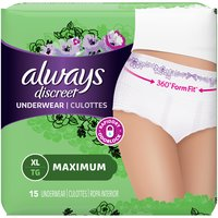 Always Incontinence Underwear for Women, 15 Each