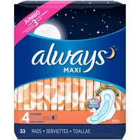 Always Size 4 Unscented Maxi Overnight Pads With Wings, 33 Each