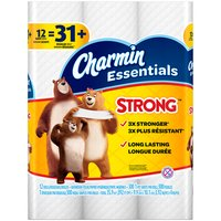 12 Giant rolls. Clog-safe and septic-safe; Roto-Rooter approved. 3X stronger when wet vs. the leading bargain brand. Charmin Essentials Strong is long lasting. Buy in bulk for more go's.