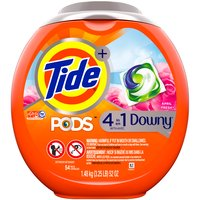 April fresh. Only Tide PODS Plus Downy cleans and conditions in 1 step, helping protect clothes from stretching and fading in the wash. Like any household detergent, keep away from children.